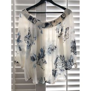 Lucky Brand White/Blue Floral Off The Shoulder Top